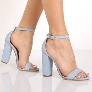 Schutz Sky Blue Enida Sandal Leather Heels
